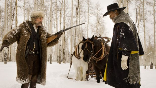 Kurt Russell and Samuel L. Jackson in The Hateful Eight, directed by Quentin Tarantino.