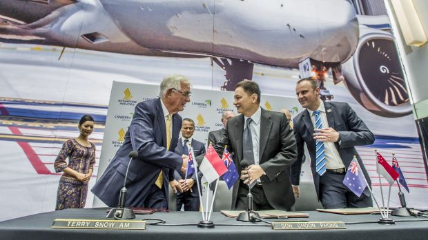 Canberra Airport owner Terry Snow, Singapore Airlines CEO Goh Choon Phong and ACT Chief Minister Andrew Barr at the ...