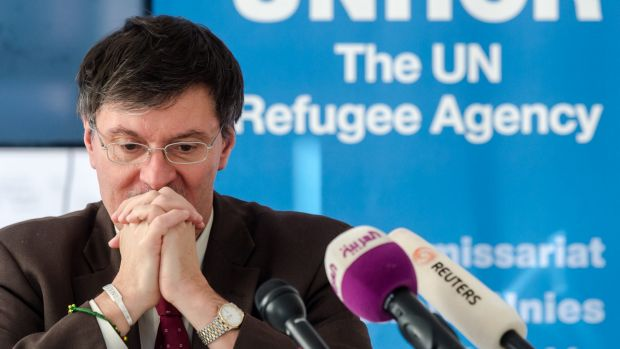 UNHCR representative in Baghdad Bruno Geddo addresses the media on the humanitarian situation in Iraq in Brussels on Tuesday.