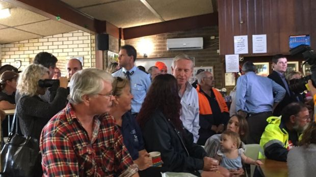 Premier Colin Barnett talks to  community members in Yarloop.