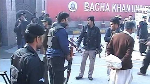 Security forces outside Bacha Khan University after the attack.