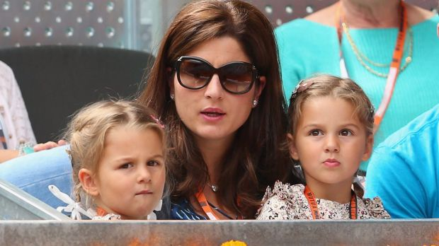 Family affair: Myla Rose and Charlene Riva with mother Mirka Federer watch Roger in 2013.