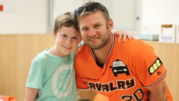 Canberra Cavalry infielder Jeremy Barnes visited Mathew Huckstadt at Canberra Hospital on Wednesday ahead of his return ...