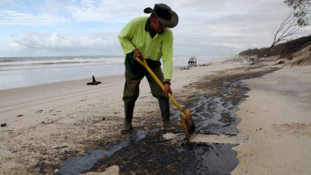Oil clean-up on Moreton Island and Tangalooma in 2009.