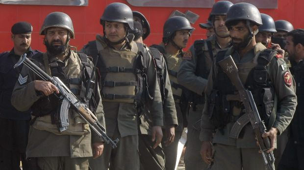 Pakistani troops arrive at Bacha Khan University in Charsadda after the attack.
