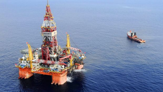 A Chinese oil rig that has recently been dragged into waters that Vietnam claims in the South China Sea.
