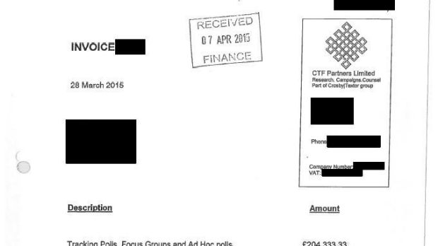A CTF invoice sent to the Conservatives in the run up to the 2015 election.