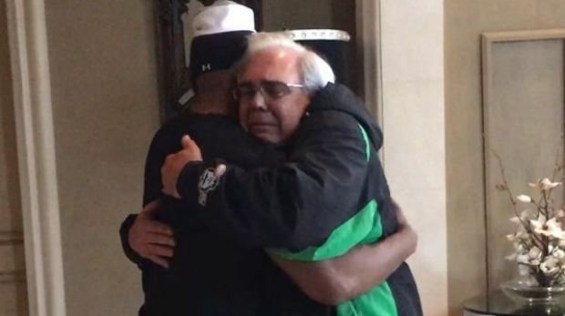 Foxx shared this photo of him embracing the man's father.
