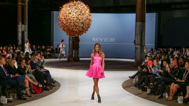 Rethinking the runway: Jennifer Hawkins in Alex Perry at Myer's launch event in August 2015.