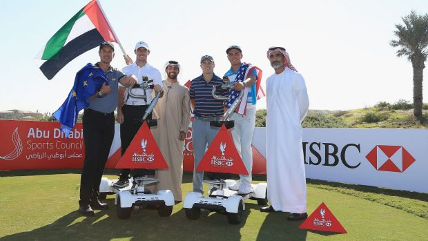 Stellar line-up: Henrik Stenson, Rory McIlroy, Jordan Spieth and Rickie Fowler during a photocall with members of the ...