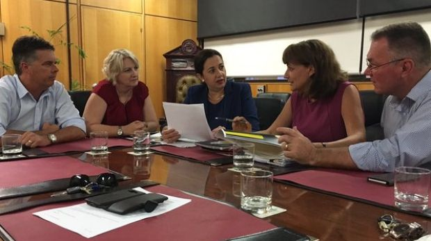 Premier Annastacia Palaszczuk meets with Townsville Mayor Jenny Hill to discuss the future for QLD Nickel workers.