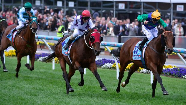 All too easy: Ocean Park, centre, takes the Cox Plate ahead of All Too Hard, rails, in 2012.