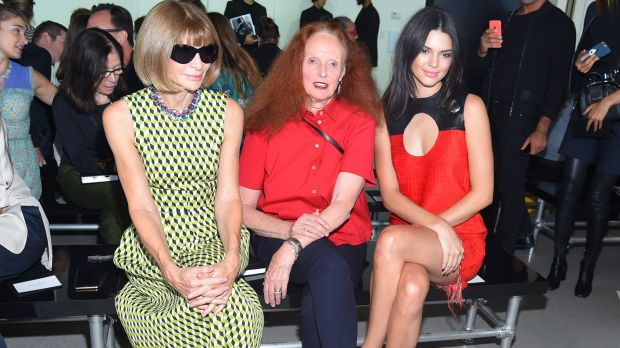 Front row favourites: Anna Wintour, Grace Coddington and Kendall Jenner.
