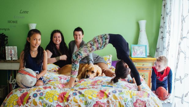 "Laura-Jade, Liz and family, pictured as part of the ""In Bed Project""."