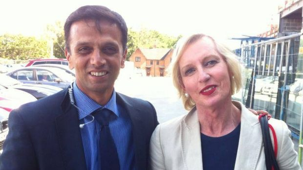 Catherine McGregor with Indian batting master Rahul Dravid in July 2014.