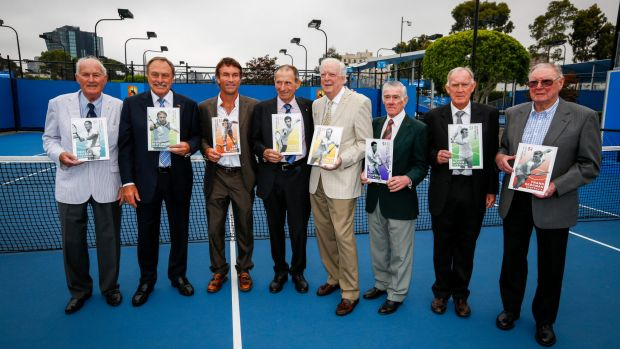 Tennis greats including Ashley Cooper were honoured as Australia Post legends this year. Pictured are: Neale Fraser, ...