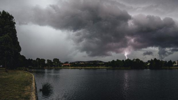 Heavy rain and lightning over Gungahlin.