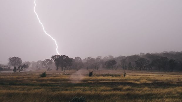 A lightning strike over Gungahlin on Thursday.