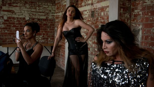 Backstage as the Miss Gay and Miss Transsexual Australia contestants prepare for the pageant.