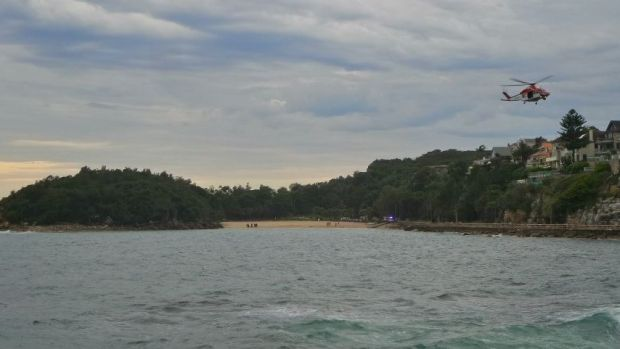 A helicopter circles Shelly Beach, Manly, in search of a suspected second diver. It was later confirmed there was only ...