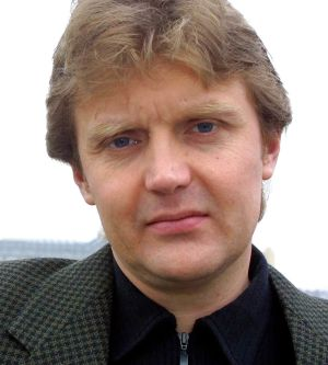 Alexander Litvinenko, former KGB spy and author of the book <i>Blowing Up Russia: Terror From Within</i>, at home in ...