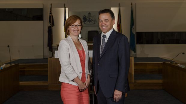 New Labor ministers Meegan Fitzharris and Chris Bourke.