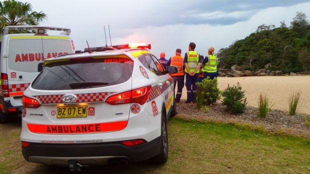 Ambulances at the scene at Shelly Beach.