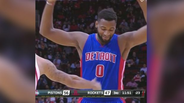 Andre Drummond reacts to being fouled by KJ McDaniels.