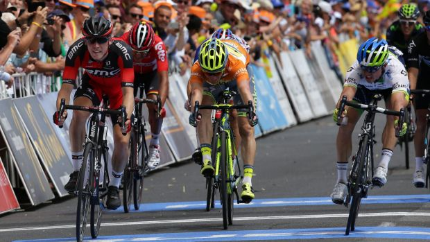Simon Gerrans (right) edges out BMC's Rohan Dennis on the line to take the overall lead in the Tour Down Under.