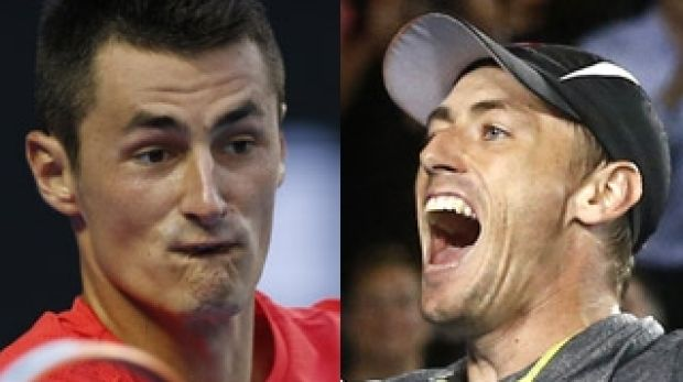 Showman versus the journeyman: Bernard Tomic and John Millman.