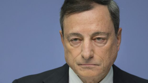 """""""Downside risks have increased again,"""" according to Mario Draghi, president of the European Central Bank."""