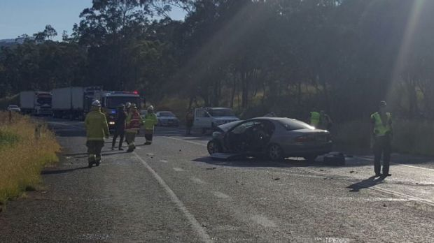 A 21-year-old woman was seriously injured and a mother and her three children suffered minor injuries in the highway head-on.