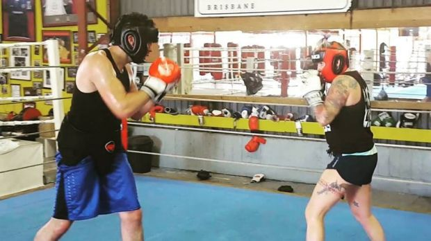 Rawlings is bouncing back from injury, sparring recently at the Coorparoo Boxing Gym.