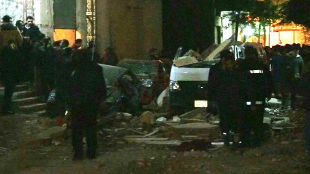 The bomb exploded as police raided an apartment where militants were preparing explosives.