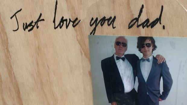 Gordon Harvey's son's simple, but touching message to his dad.