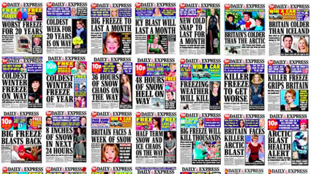 Some weather headlines on the Daily Express