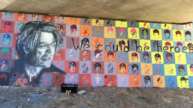 The wall at Richardson, in Canberra's south, was given a taste of Bowie by a street art workshop.