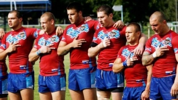 Making progress: Some members of the Serbian rugby league team before playing Russia in May 2015.