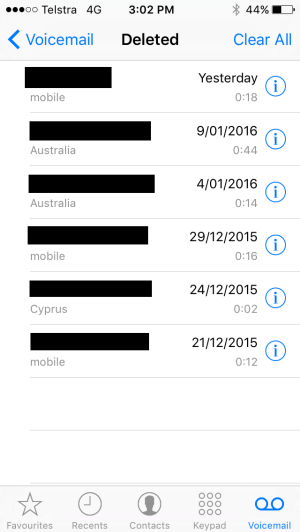 A screenshot of Mr Thornton's Telstra voicemail messages which appeared on the iPhone 5 after he wiped it and sold it.