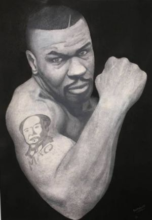 A painting of former boxer Mike Tyson by Brenden Abbott, known as the notorious 'postcard bandit', for sale on Gumtree.