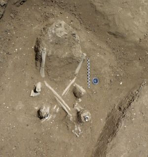 The skeleton of a woman found with a fetal skeleton in her abdomen on the ancient shore of Lake Turkana in Kenya.