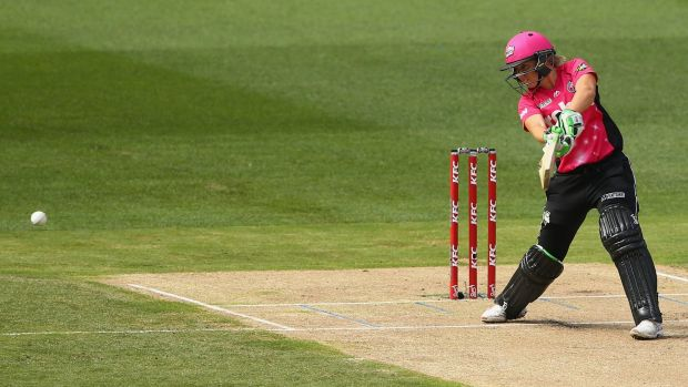 Big hitting: Alyssa Healy smashed 32 off 22 balls as the Sixers cruised into the WBBL final.