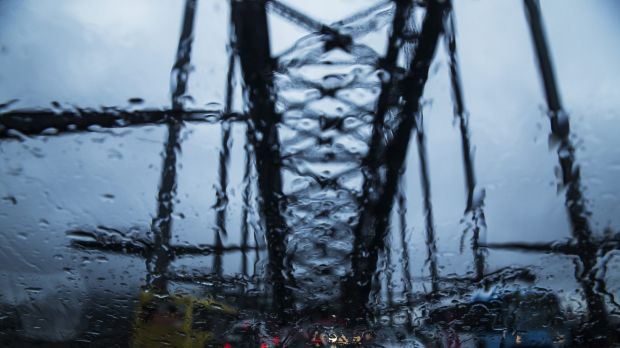 A dreary Harbour Bridge on Friday evening.