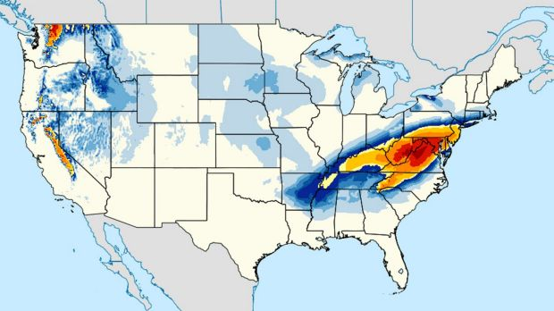 This NOAA image shows a computer model forecasting the chances of a snow storm hitting the East Coast this weekend. Snow ...