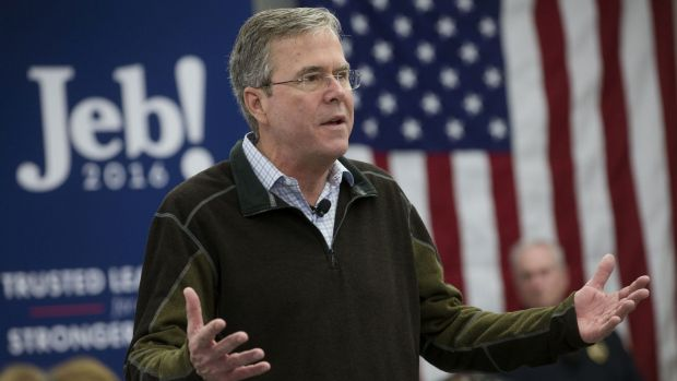 Republican presidential candidate and former Florida governor Jeb Bush speaks during a campaign stop in Newport, New ...