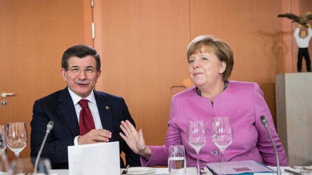 Turkish Prime Minister Ahmet Davutoglu and German Chancellor Angela Merkel at talks in Berlin on Friday. Europe wants ...