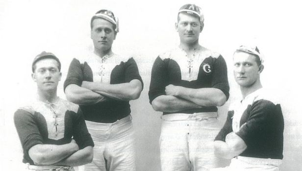 The famous Burge brothers, resplendent in their Glebe jerseys. From left: Laidley, Peter, Albert and Frank.  Credit: Ian ...