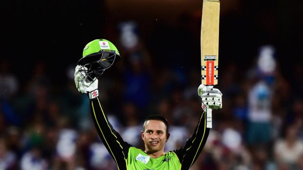 On top of the world: Thunder batsman Usman Khawaja.