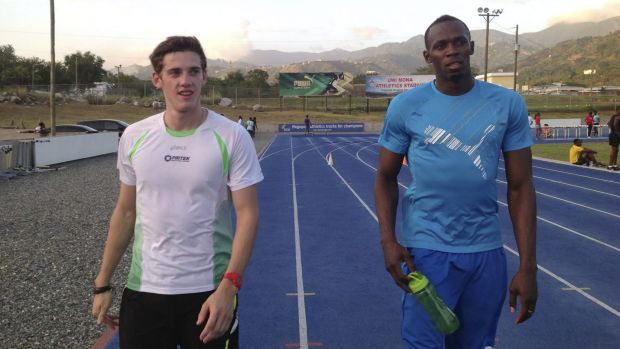 Learning curve: Jarrod Geddes and Usain Bolt training in Jamaica.