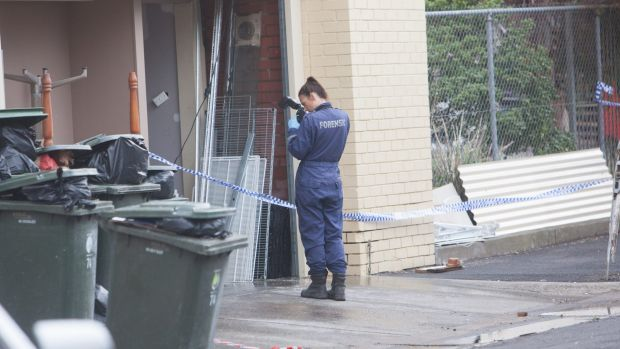 Police forensic photographer at Gelobar in Brunswick East.